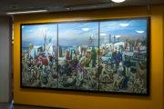 Harald Duwe: Großes Strandbild (mit Hochhäusern)